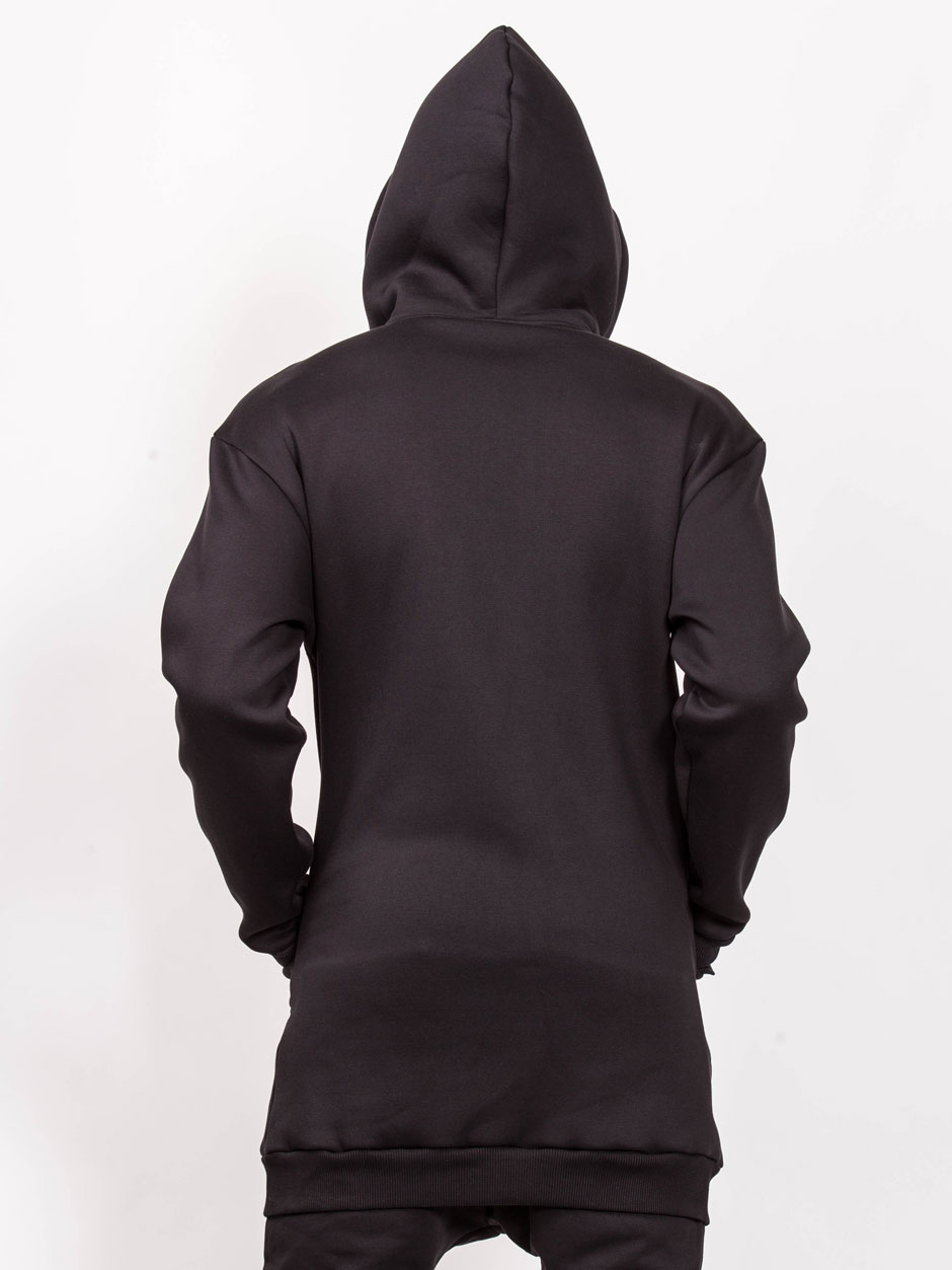 HOODIES LONG WITH ZIPPER BLACK